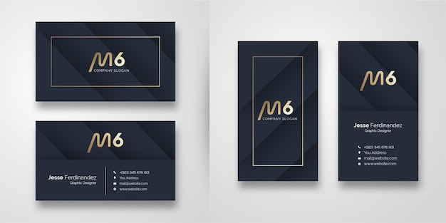 Modern dark  shape business card template Premium Vector