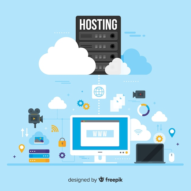 Modern data hosting concept Free Vector