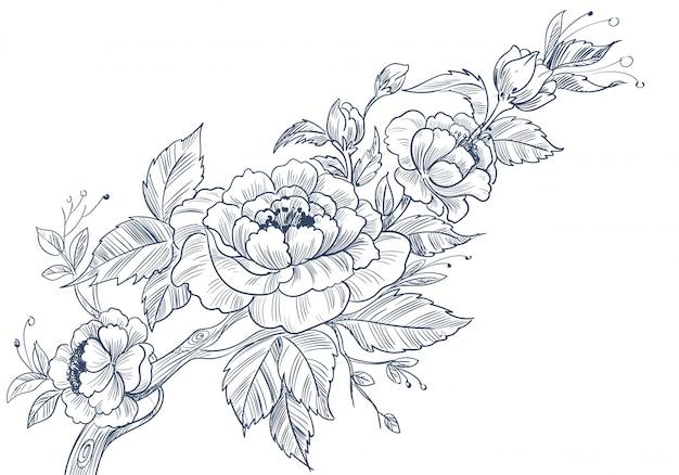 Sfondo floreale decorativo moderno con stile abbozzato Vettore gratuito