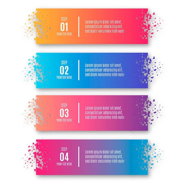 Moderni degradi passi infografica con forme rotte Vettore gratuito