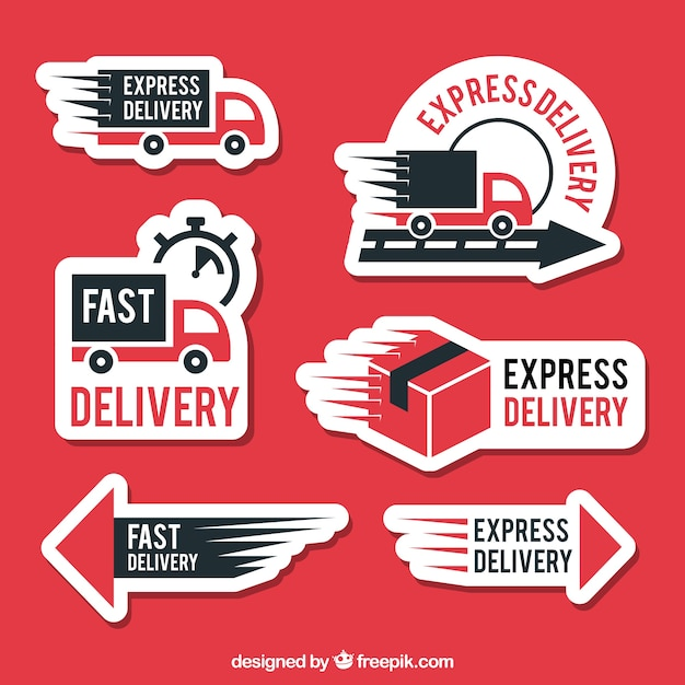 Modern delivery labels with flat design Free Vector