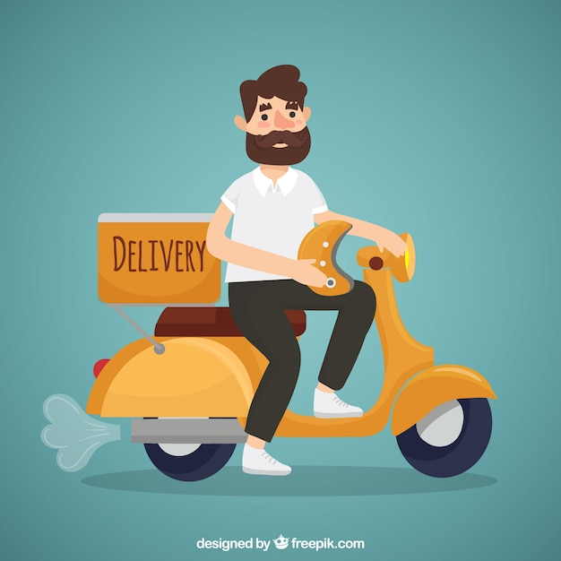 Modern deliveryman with beard and helmet Free Vector