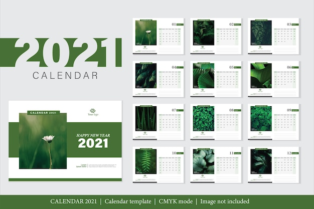 Modern design 2021 calendar template Free Vector