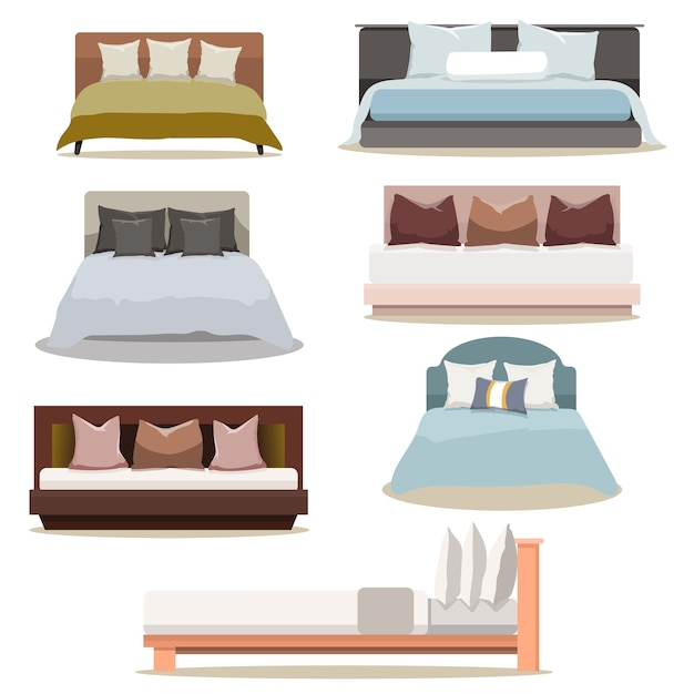 Modern design furniture double bed collection set Premium Vector