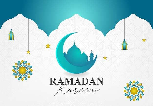 Modern design for ramadan kareem event with turquoise and gold color Premium Vector