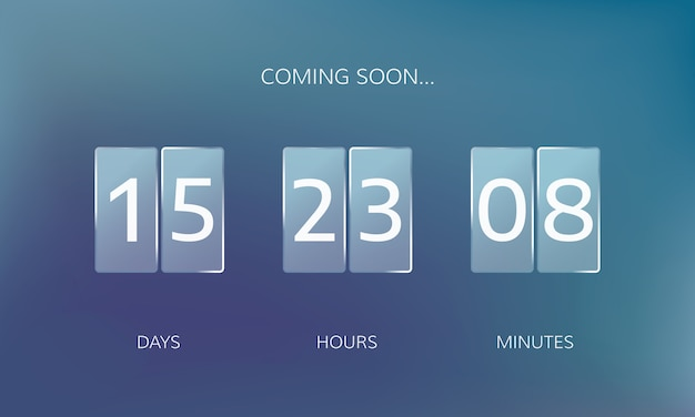 Modern design of a web countdown banner. concept flat countdown counter on blur background Premium Vector