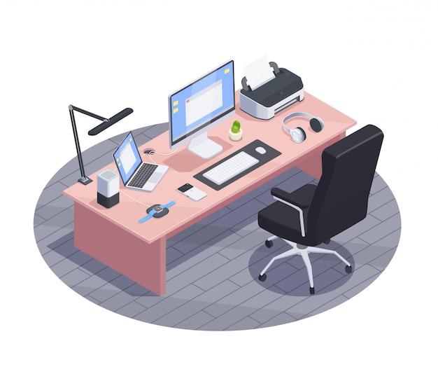 Современные устройства изометрической композиции с видом на современное рабочее пространство с большим столом и бытовой электроникой компьютеров иллюстрации Бесплатные векторы