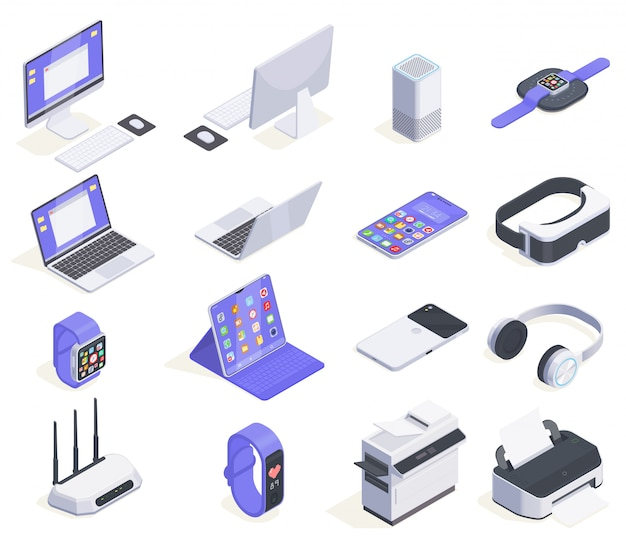 Modern devices isometric icons collection with sixteen isolated images of computers periphereals and various consumer electronics  illustration Free Vector