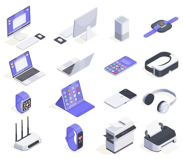 コンピューター周辺とさまざまな家電イラストの16の分離画像と近代的なデバイス等尺性のアイコンコレクション 無料ベクター