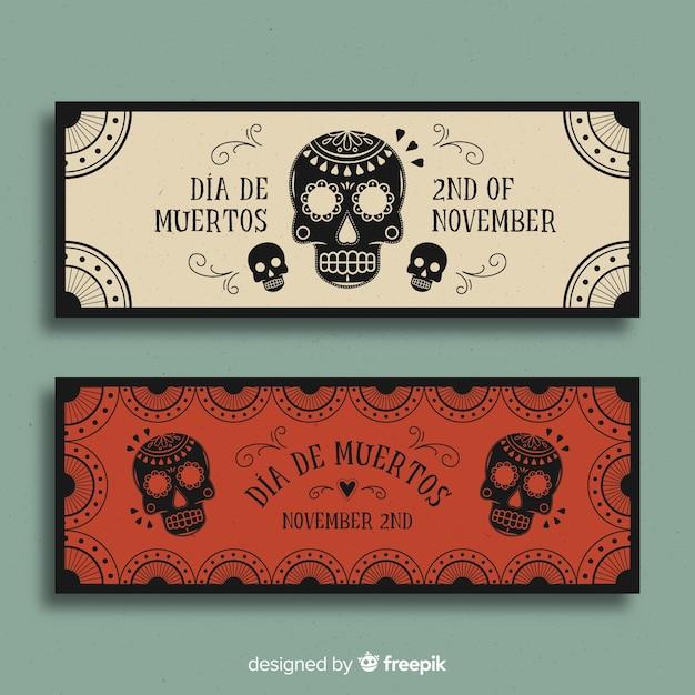 Modern día de muertos banners Free Vector