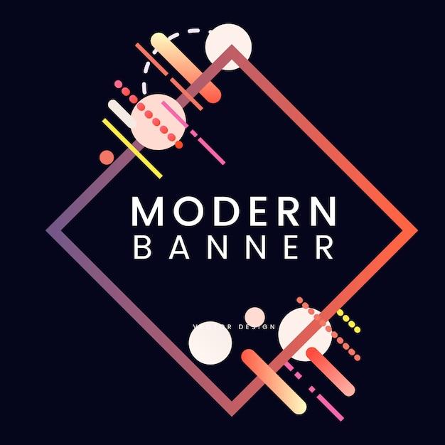 Modern diamond banner in colorful frame illustration Free Vector