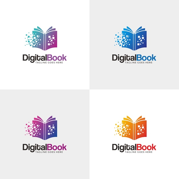 Modern digital book logo. Premium Vector