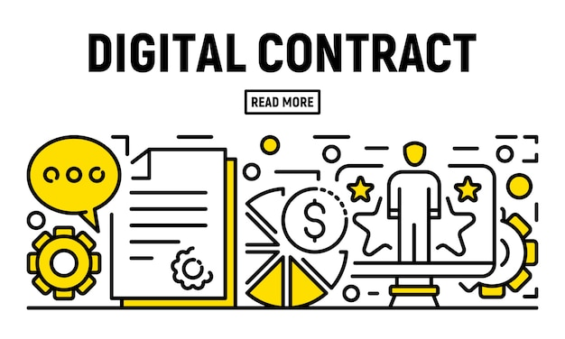 Modern digital contract banner, outline style Premium Vector