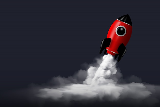 Modern digital rocket 3d rendering Premium Vector