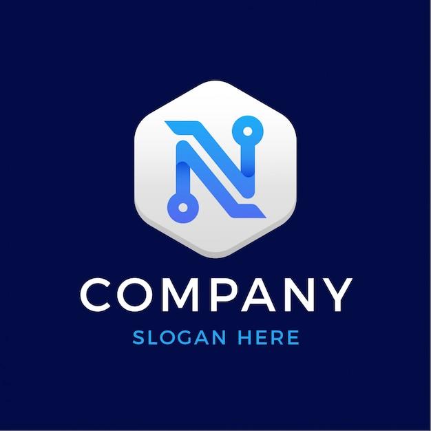 現代のデジタルテクノロジーの手紙nロゴ Premiumベクター