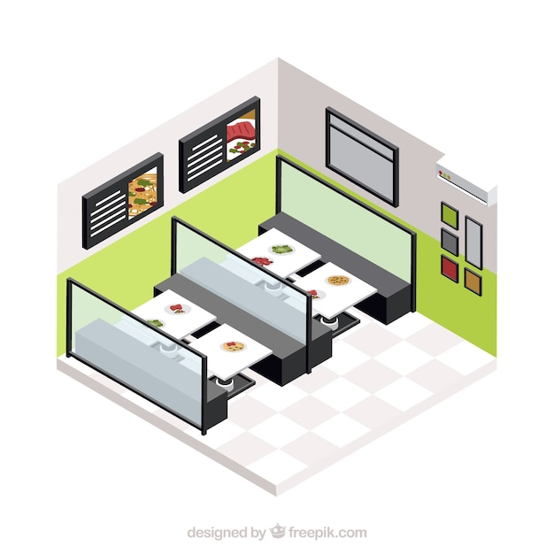 Modern dinning room with isometric persoective