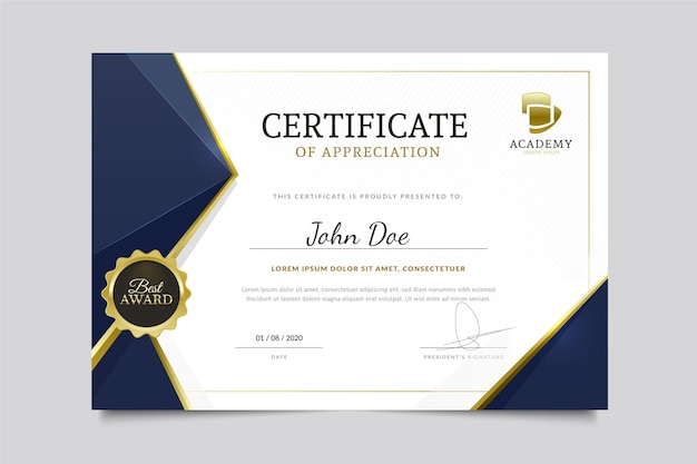 Modern diploma template Free Vector