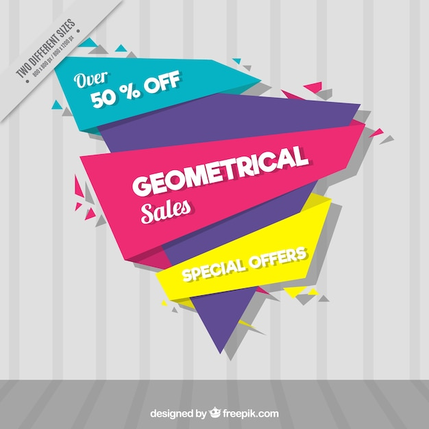 Modern discount background with geometric shapes