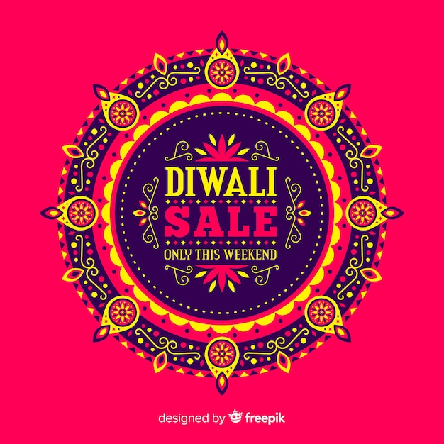 Modern diwali sale composition with flat design Free Vector