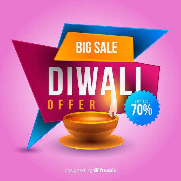 Modern diwali sale composition with realistic design Free Vector