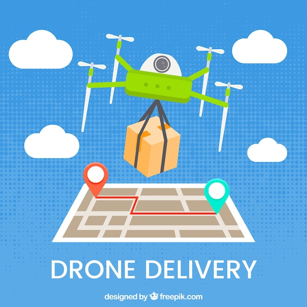 Modern drone delivery concept Vector | Free Download