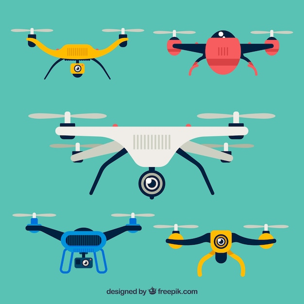 Modern drones with colorful style