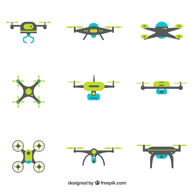 Modern drones with flat design Free Vector