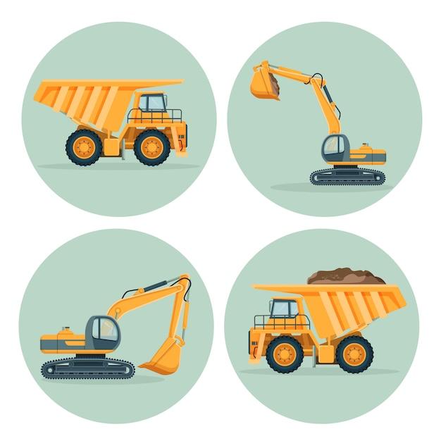 Modern dump truck and functional excavator emblems set Premium Vector