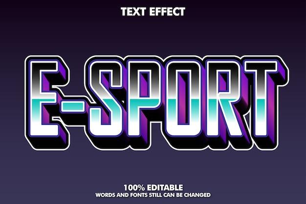 Effetto di testo moderno e-sport Vettore gratuito