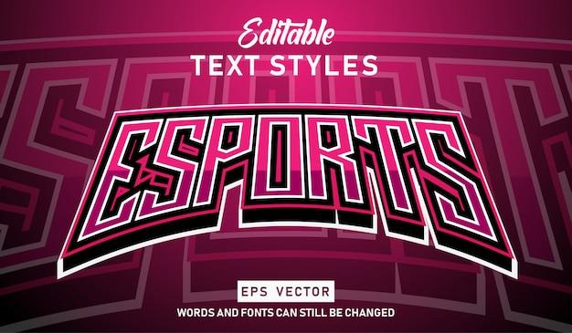 Редактируемый текстовый эффект modern e-sport Premium векторы