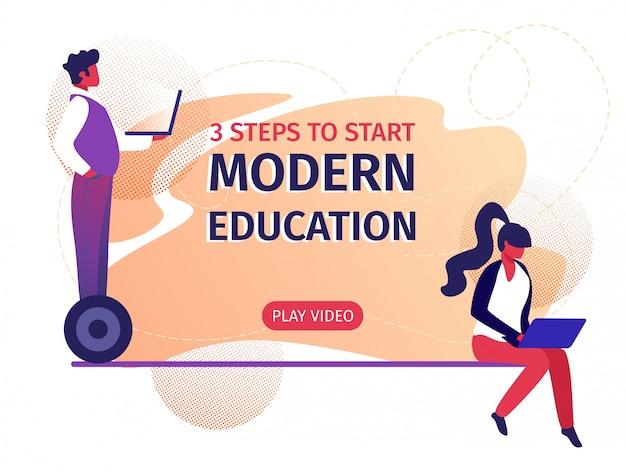 Modern education 3 steps to start horizontal banner Premium Vector