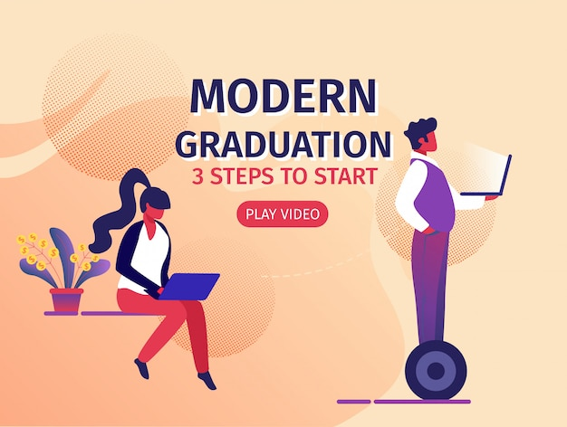 Modern education 3 steps to start horizontal banner Premium Vector