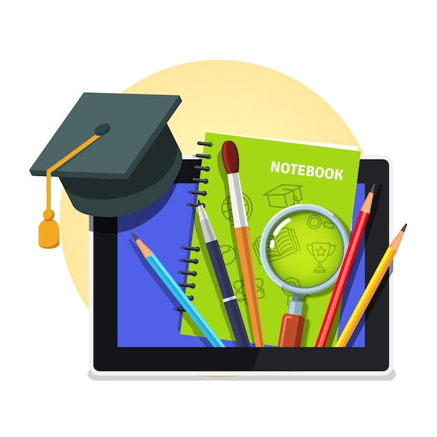 Modern education concept. tablet computer Free Vector