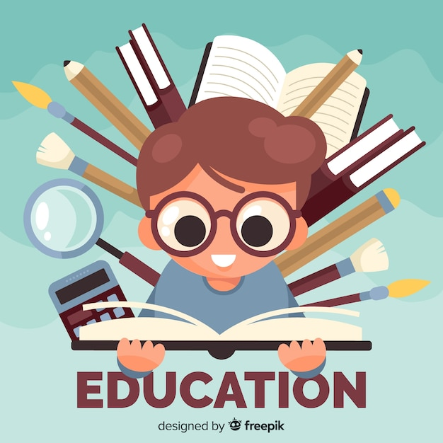 Modern education concept with flat design Free Vector