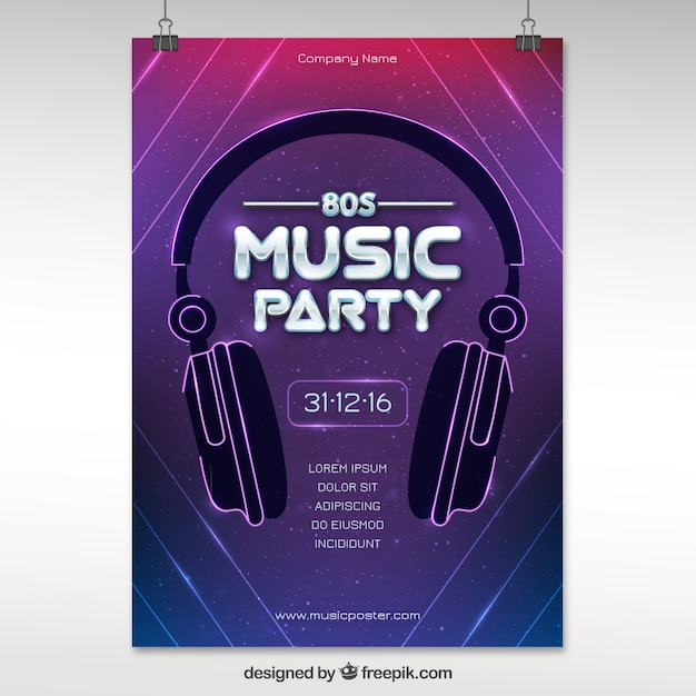Modern eighties party poster with headphones Free Vector