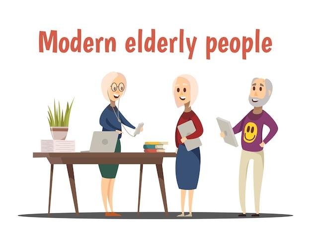 Modern elderly people composition Free Vector