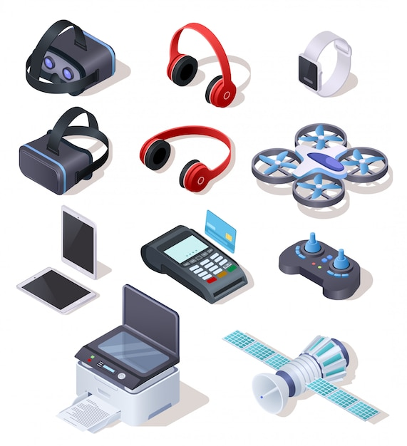 Modern electronic equipment realistic vector set Premium Vector