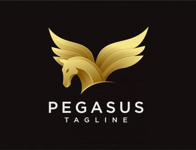 Modern elegance pegasus logo Premium Vector