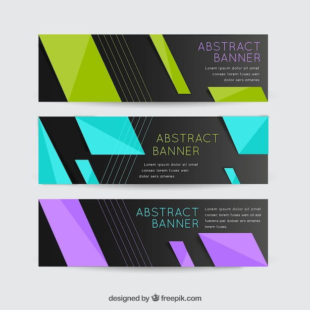Modern elegant banners of colorful shapes