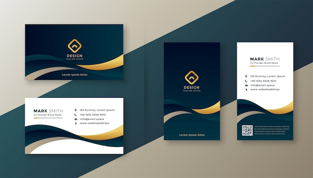 Modern elegant golden wave business card Free Vector