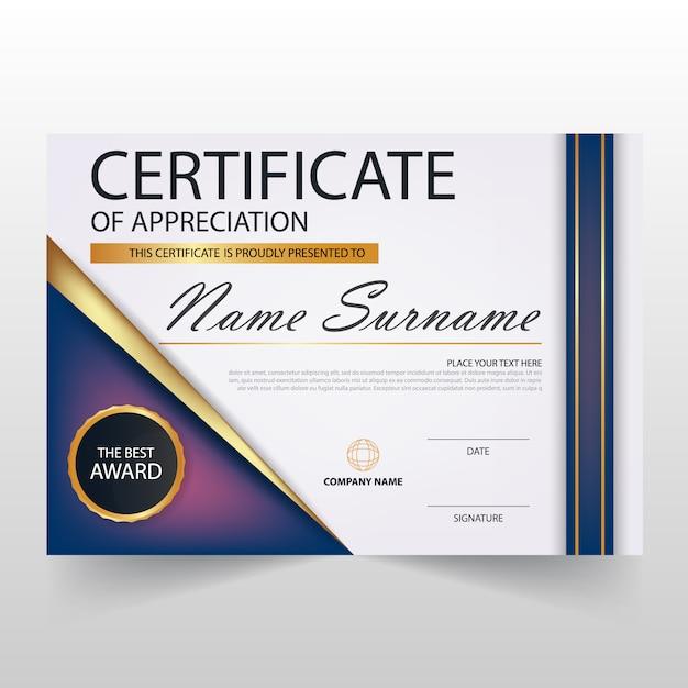Modern elegant horizontal diploma template