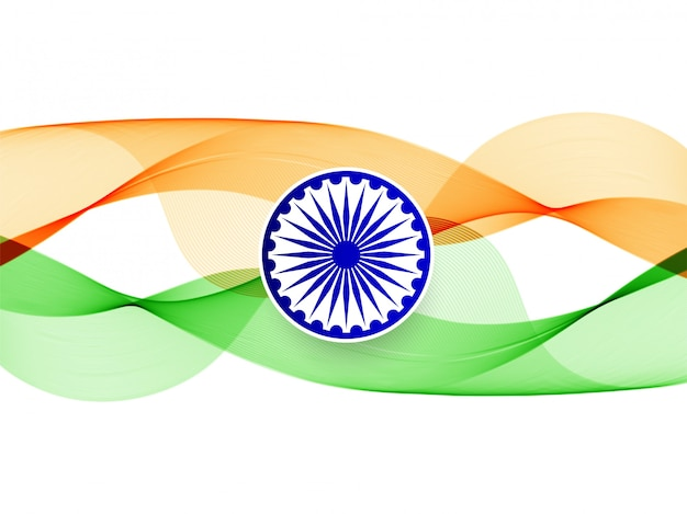 Modern elegant wavy indian flag background Free Vector