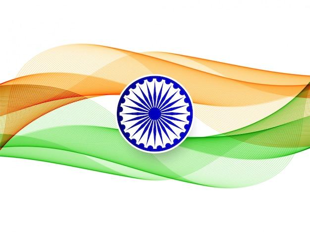Moderno elegante ondulato bandiera indiana sullo sfondo Vettore gratuito