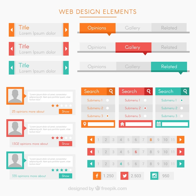 Modern elements and buttons for website Free Vector