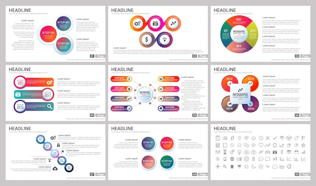 Modern Elements of infographics for presentations templates Premium Vector