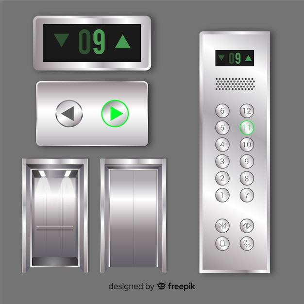 Modern elevator elements with realistic design Free Vector