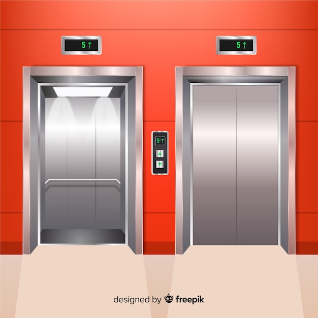Modern elevator with realistic design Free Vector