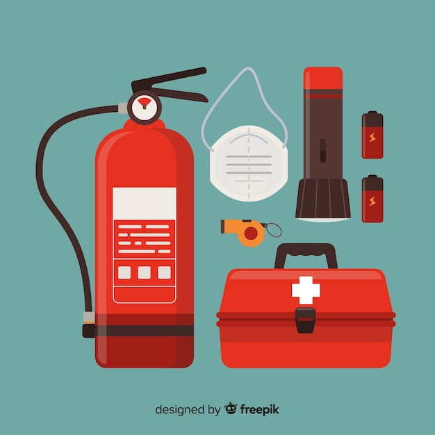 Modern emergency survival kit in flat design Free Vector