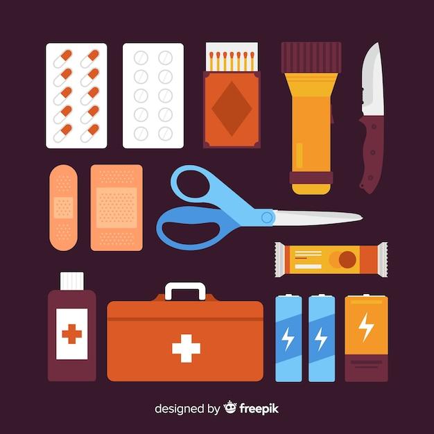 Modern emergency survival kit in flat style Free Vector