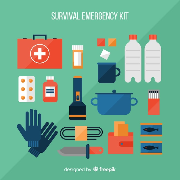 Modern emergency survival kit in flat style Free Vector